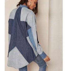 Free People Oversized Star Back Denim Shirt Medium